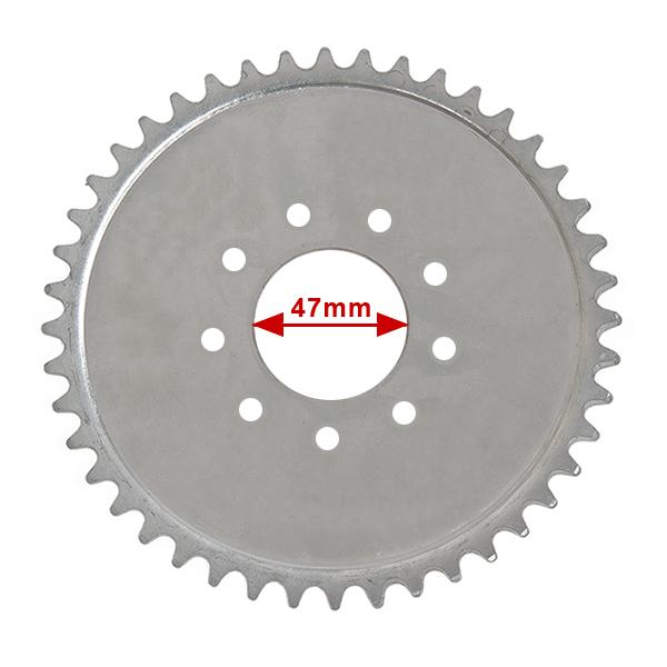 Rozeta 44 zubů na motokolo pro velký náboj-TORPÉDO, středový otvor 47mm