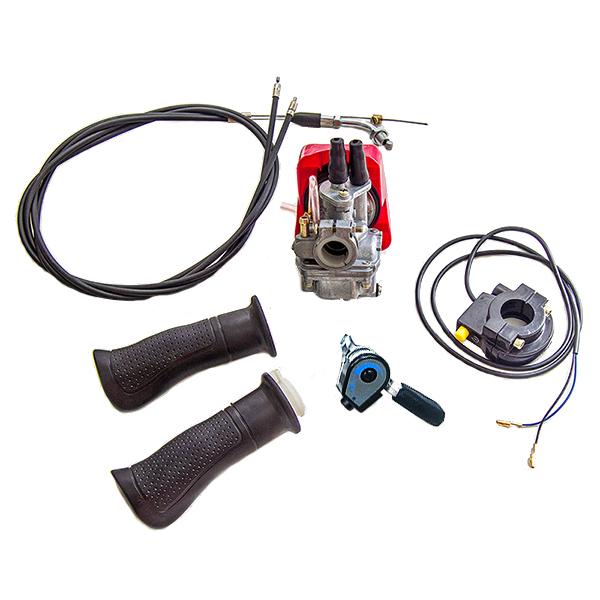 Motor na kolo-sada CNS karburátoru s technologií nastavení průchodu a míchání vzduchu s palivem + páčka na řidítkách